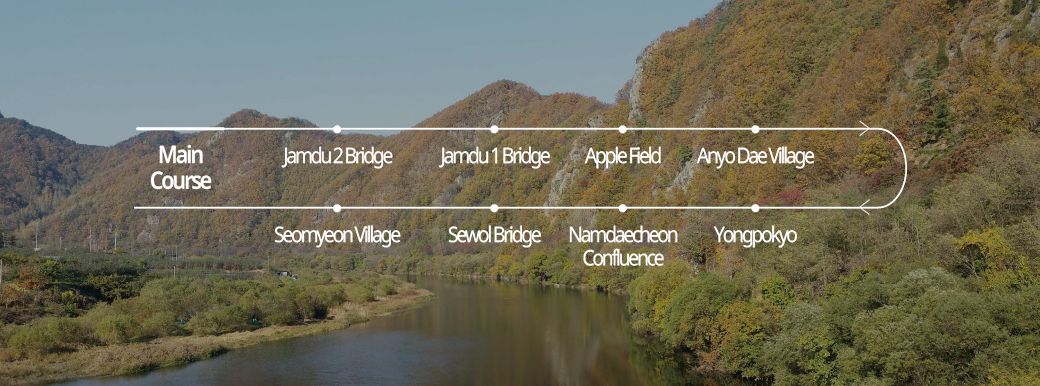 <span>Muju  je 1 gil</span><br>Yehyangcheonli Geum River Masil-gil Course 2|Jamdu 2 Bridge is said to have been built on the road for people who were isolated as islands. If you follow the right road between...